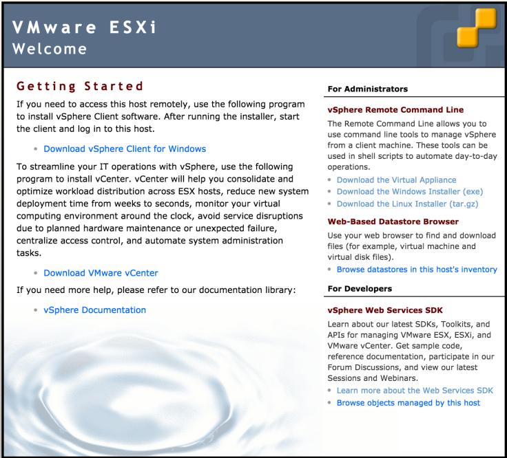 VMware ESXi Welcome screen
