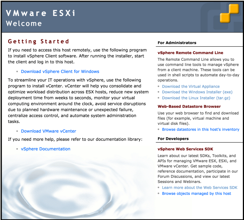 VMware ESXi Welcome screen