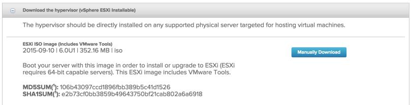 Download vSphere ESXi installable