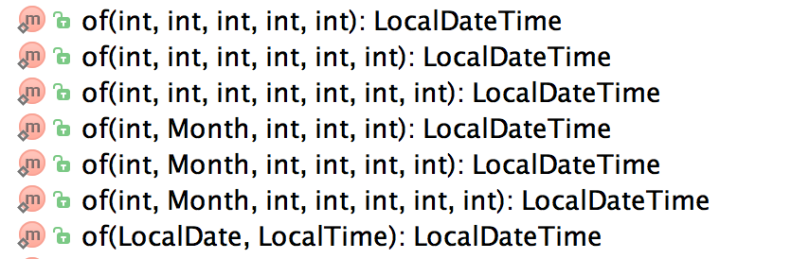 LocalDateTime Of Methods